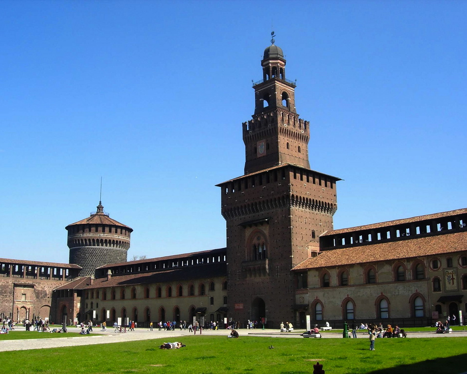 Sforza Castle, the imposing ducal residence in the past